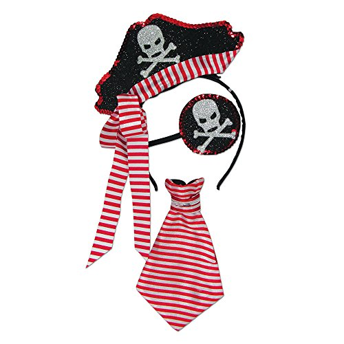 Forum Novelties Glitter Skull Pirate - Costume Pirate Kit