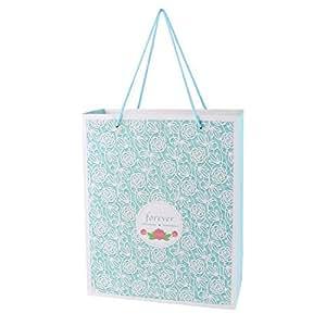 DealMux Paper Handheld Rose Pattern Folding Gift Bag Box Holder 26cm x 12cm x 32cm Green White