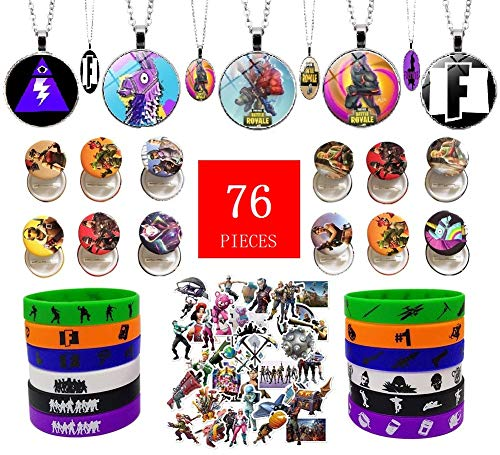 Video Game Party Favors - 76 Pack Game Party Supplies Birthday Decorations with Bracelets Necklaces Button Pins Stickers, Perfect Game Gifts for kids (Video Game Necklace)