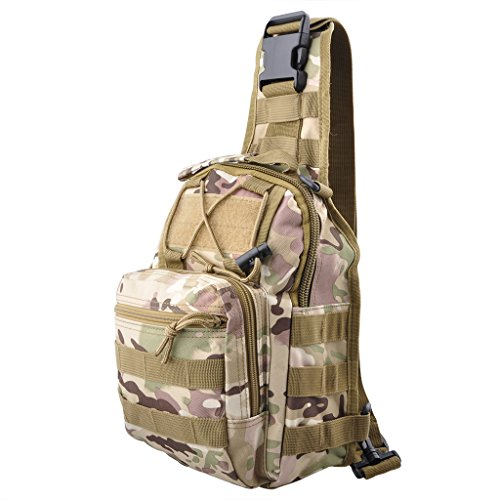 Qcute Oxford Fabric Multifunctional Unisex Chest Shoulder Satchel Bag,Tactical Sling Pack/Camping Shoulder Pack,Fit for iPod, iPad,iPhone 6 6Plus,MP3,S6 Android Smart Phone (CP Camouflage)