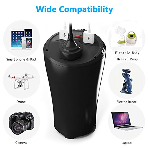200W Car Power Inverter DC 12V to 110V AC Outlet Cup Holder Car Converter Adapter with 4.8A Dual Smart Quick USB Charger by EasyFocus (Image #2)