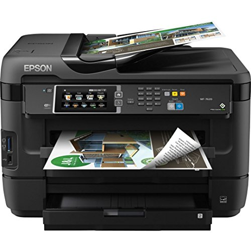 Epson WorkForce WF-7620 Wireless Color All-in-One Inkjet Printer with Scanner, Copier, Fax, PrecisionCore Print Head, DURABrite Ultra Ink, Wide-Format, Photo Quality and Mobile Printing