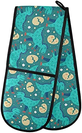 PUXUQU Oven Handschoenen Dubbele Oven Wanten Handschoenen Schattige Blauwe TRex Hittebestendige Oven Handschoenen voor Bakken BBQ Keuken Koken Handschoenen