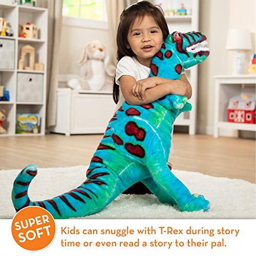 """Melissa & Doug T-Rex Giant Stuffed Animal, Wildlife, Bold Colors, Soft Polyester Fabric, Stands on Two Feet, 26"""" H x 30"""" W x 9"""" L"""