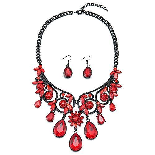 COOLSTEELANDBEYOND Victorian Prom Black Necklace Red Crystal Cluster Teardrop Floral Chandelier Pendant Earrings ()