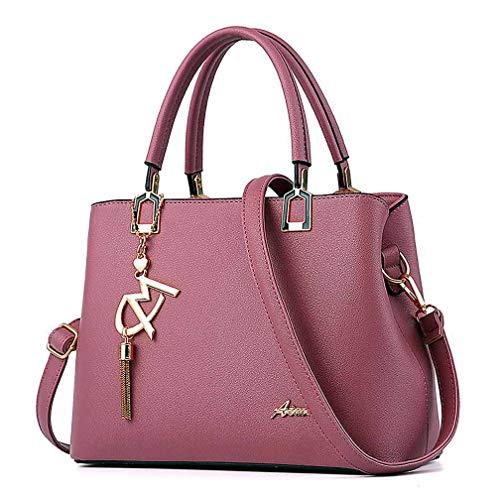 Womens Purses and Handbags Shoulder Bags Ladies Designer Top Handle Satchel Tote Bag (Dark Pink)