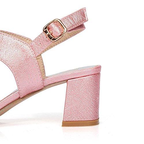 VogueZone009 Women's PU Solid Buckle Open Toe Kitten-Heels Sandals with Metal Pink PNRerwl5