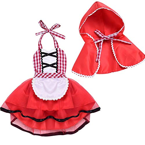 ONE's Infant Baby Toddler Girls Christmas Red Plaid Tulle Fancy Dress Hood Cloak Halloween Costumes (Red, 18-24 Months) -
