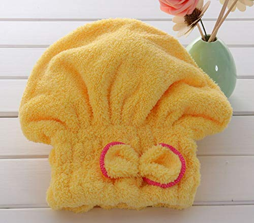 - SUImeito-Home Dry Hair Hat - Coral Fleece Hair Hat Wrap Quick Dry Wrapped Towel Absorbent Superfine Fiber Soft Comfortable Bath Cap for Beach Swim Travel Gym,Textile Hair Turban Hair Hat for Girl (C)