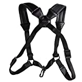 Xinlink Professional Black Leather Saxophone Strap Double Shoulder Padded Harness Adjustable for Alto Tenor Soprano Baritone Sax Music Instrument