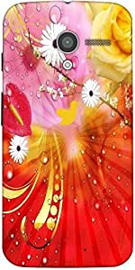 Snoogg Fantasy Flowers Background Designer Protective Back Case Cover For Moto-X