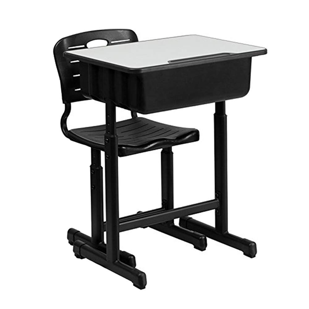 FCH Children's Desk and Chair Set,Height Adjustable Desk and Chair with Hanging Hooks and Pencil Groove