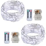 2 Pack Twinkle Fairy String Lights 50 LED 16.4FT Battery Operated Waterproof Firefly Starry Lights with 8 Modes Remote Control and Timer for Wedding Party Garden Bedroom Christmas Decor, Pure White