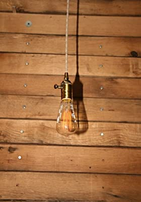 Bare Bulb Minimalist Pendant Light - Bare Bulb Pendant - Vintage Style Cloth Cord with Dimmer Socket and Edison Bulb Included by Industrial Rewind