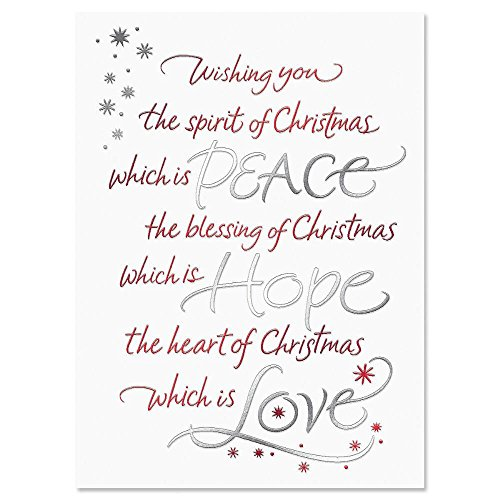 Deluxe Christmas Cards Set - Christmas Wish Deluxe Foil Personalized Christmas Cards - Set of 14