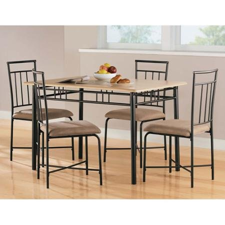 Mainstays 5-Piece Wood and Metal Dining Set, Natural Color