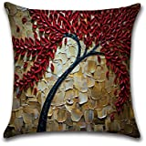 FLORICA Throw Pillow Case Cushion Cover Linen Home Decorative Oil Painting Design 18 * 18in (08)