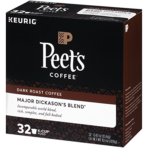 Peet's Coffee K-Cup Packs Major Dickason's Blend, Dark Roast Coffee, 32 Count Single Cup Coffee Pods, Rich, Smooth & Complex Dark Roast Blend, Full Bodied & Layered Flavor; for Keurig K-Cup Brewers by Peet's Coffee (Image #1)