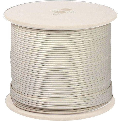 (UL Listed RG6 18AWG Coaxial Cable, Quad Shielded, White, Spool, 1000 Foot)