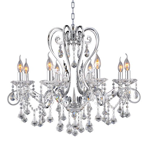 Lighting EVER® Lampux Crystal Chandelier, Chrome Finish, Clear Crystal, Width 26in, Height 26in