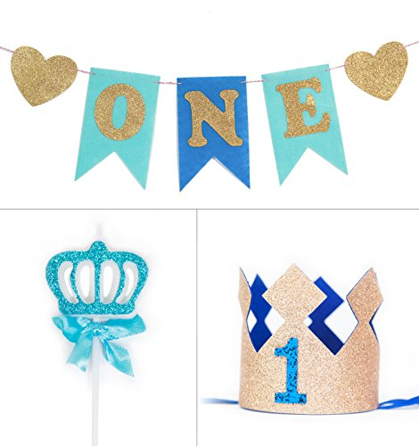 May&June 1st First Birthday Party Supplies, Blue And Gold Glitter ONE Banner, With One Candle and Gold Glitter Crown, For Baby Girl, High Chair Decor (Blue)