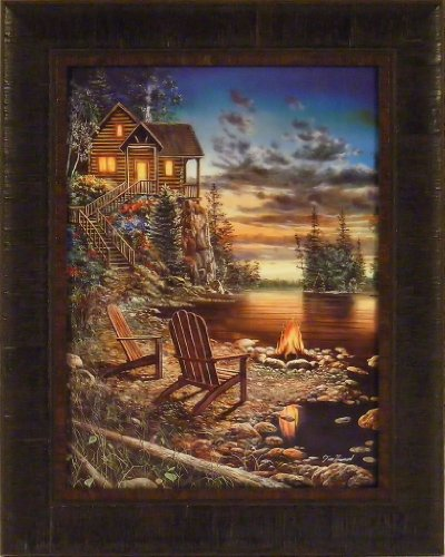 Campfire Logs (Summer Pleasures by Jim Hansel 17x21 Log Cabin Campfire Lake Sunset Framed Art Print Wall Décor)