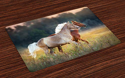 Wild Animals Placemat - Ambesonne Farm Animal Place Mats Set of 4, Picturesque Palomino and Chestnut Horse Run Fast at Meadow with Wild Flowers, Washable Fabric Placemats for Dining Room Kitchen Table Decor, Multicolor