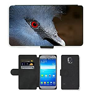 Hot Style Cell Phone Card Slot PU Leather Wallet Case // M00108015 Fan-Deaf Bird Head Portrait Blue // Samsung Galaxy S5 S V SV i9600 (Not Fits S5 ACTIVE)