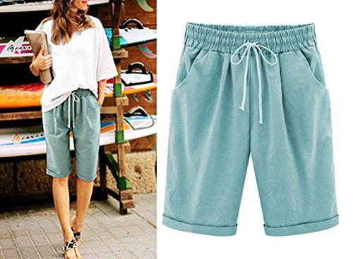 HOW'ON Women's Casual Elastic Waist Knee-Length Curling Bermuda Shorts with Drawstring Navy L by HOW'ON (Image #6)