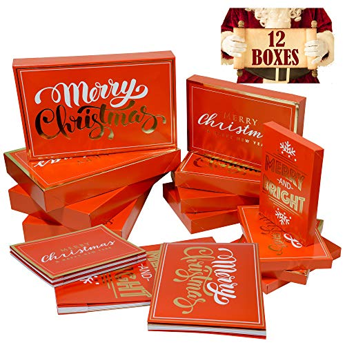 Red Christmas Gift Boxes with Lids (12 Pack) | 4 Each of Shirt Boxes, Robe Boxes & Lingerie Boxes | Premium Christmas Boxes for Presents | Assorted Small, Medium & Large Boxes for Wrapping Gifts