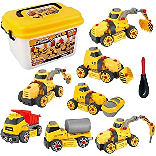 7 in 1 Take Apart Toys Construction Vehicle Truck Assembly Car Play Set with Storage Box for Boys Toddlers