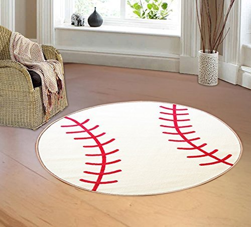 furnish my place kid's sports theme children area rug, thick anti skid rubber backing for kids protection, baseball shape, round