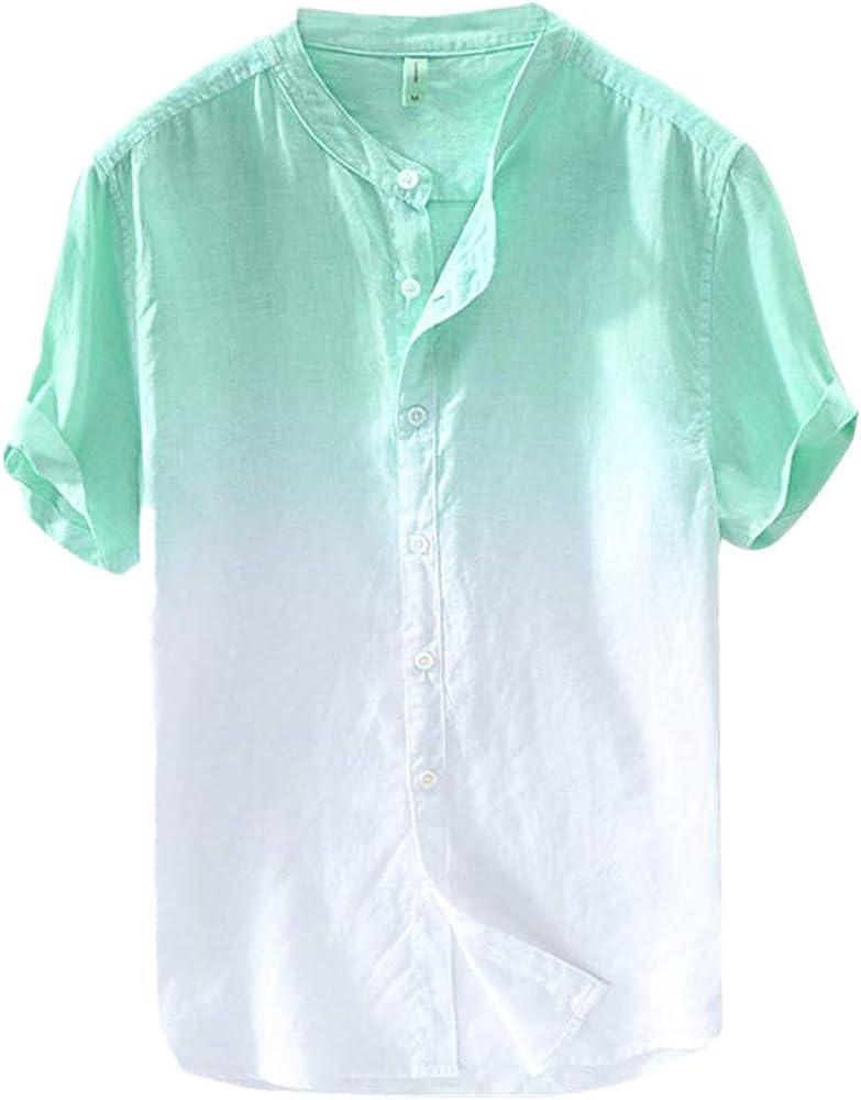 Xmiral - Camisa de Hombre de Lino y algodón con diseño Moderno y Fino Verde S: Amazon.es: Ropa y accesorios