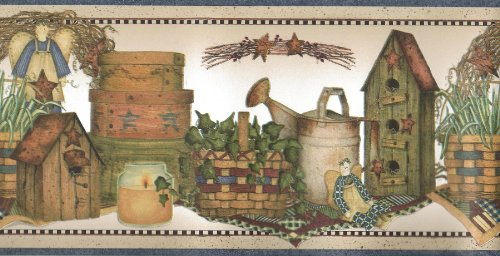 Birdhouses Wallpaper Border - Wallpaper Border Country Angels Ivy Baskets Birdhouses Watering Cans Blue Trim