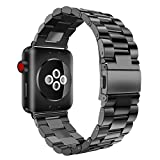 Besde Stainless Steel Watch Band Replacement Strap For Apple Watch Series 1/2/3 42MM (A, black)