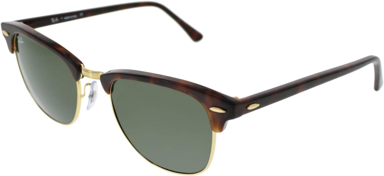 RAY-BAN RB3016 Clubmaster Square Sunglasses, Mock Tortoise Gold/Green, 51 mm by RAY-BAN