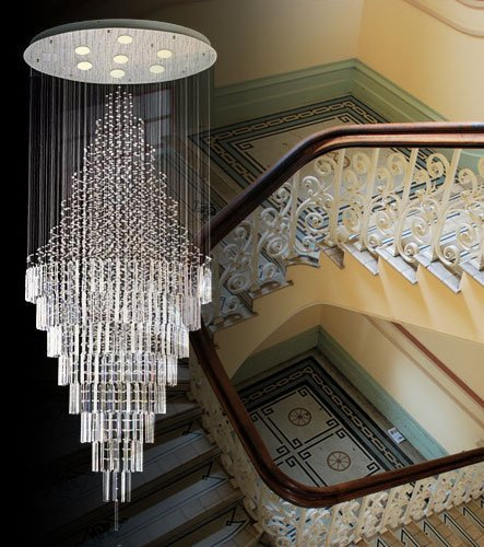 8 Lights Fancy/Modern Contemporary Chandelier Rain Drop Helix Fixture Lighting with Crystal Balls for High Foyer Hallway/Living Room … (Diameter 24 Height 60 (inch) (7 (Contemporary Foyer)