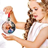 Bakaji Set 3 Palline Palle di Natale PortaFoto Personalizzabili Sfere Natalizie Trasparenti con porta foto e fiocco Diametro 10 cm