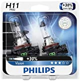 Philips H11 Vision Upgrade Headlight Bulb with up to 30% More Vision, 2 Pack