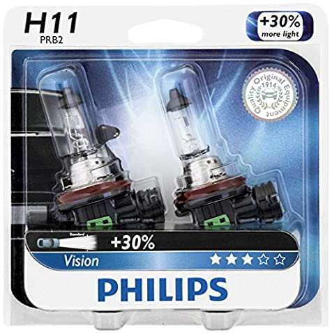 Philips H11 Vision Upgrade Headlight Bulb/Foglight , 2 Pack - Nissan Frontier Headlight Replacement