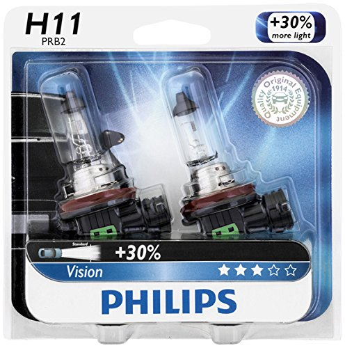 Philips H11 Vision Upgrade Headlight Bulb with up to 30% More Vision, 2 Pack by Philips