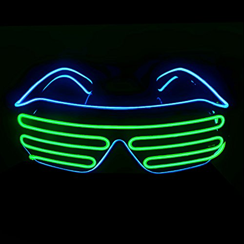 OPPSK Neon Glasses with Glow LED Shutter Shaped Light-Up Toys Glasses for Costume Show Black Lights Party Halloween Christmas (Battery Non-included) - (Black Light Party Costume)