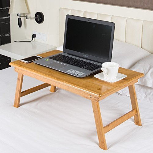JINSHENG Laptop Table Ordenador portátil Plegable de bambú Mesa ...
