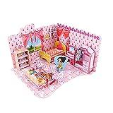 Goldflower 3D Puzzles Jigsaw Paper Jigsaw Puzzle Cardboard DIY Pink Sweet Dollhouse Jigsaw Bedroom Kids Cute Miniature Furniture Kit 51 Pieces