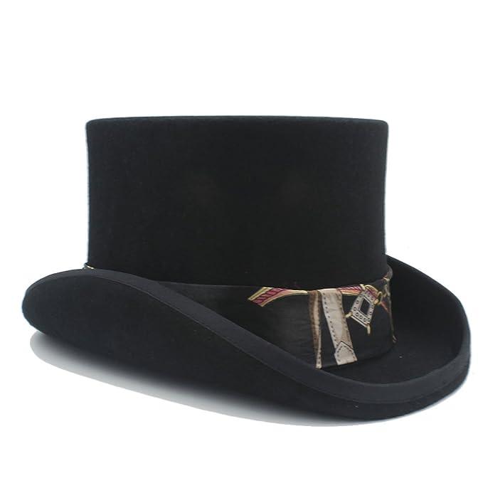 DuoShengZhTG Sombrero para Mujer 4 Colores Sombrero de Copa Steampunk de Lana con Patrón Negro Sombrero de Sombrerero Loco de Halloween (Color : 1, ...