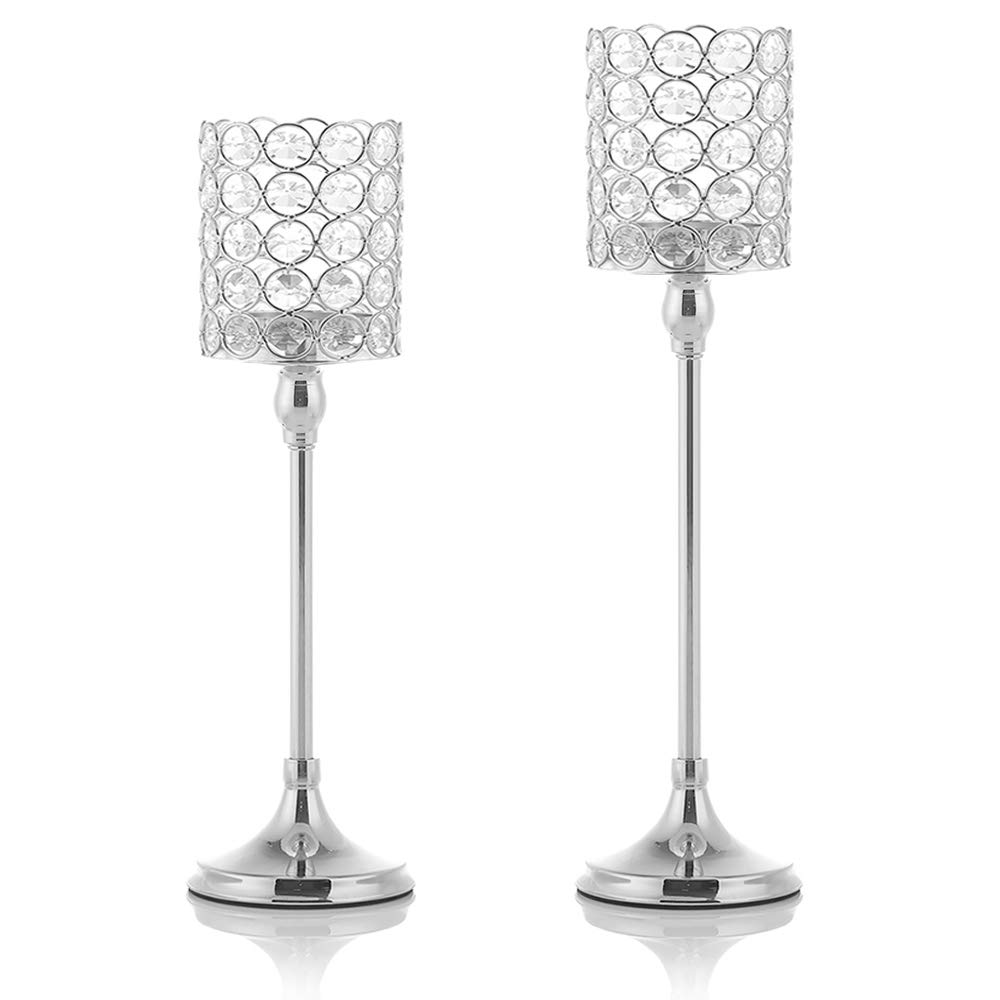 VINCIGANT Silver Tea Light Candle Holders Set of 2 for Mothers Day Coffee Table Decorative Centerpieces,14 and 16 Inches Tall