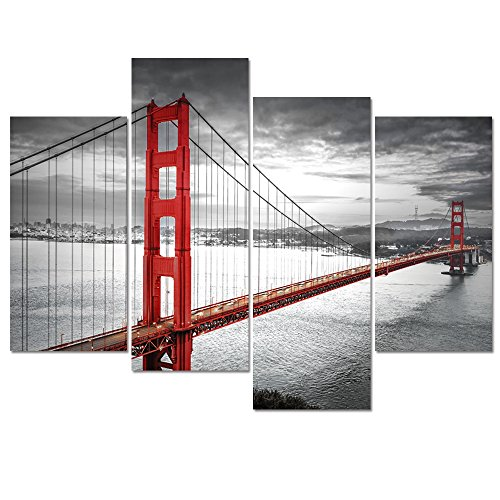Visual Art Decor Black and White Living Room Decoration San Francisco Golden Gate Bridge Landscape Picture Printed on Canvas Framed Wall Decor Art Ready to Hang - San Francisco Mirror