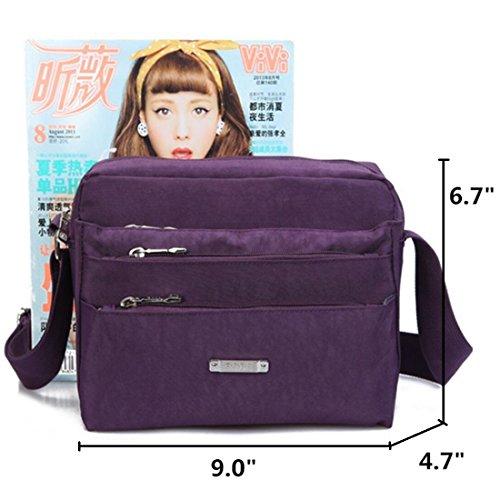 amp; Lightweight Bag body Shoulder Bag Cross Casual with mini Men Grey Pockets Zipper Women Messenger Nylon Unisex for ZXqd4SAw4