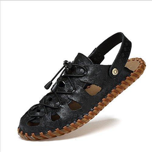 Pantofole 0 Da Ventilati 24 Aria Comodi 0 Nero 27 Confortevoli pantofole Cava spiaggia Wagsiyi Neri Sportivi Scarpe Pelle Sandali da E In Per Esterno Uomo Con qO1xntwA6