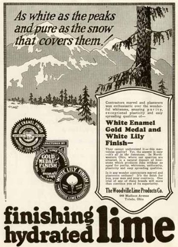 Rarely-SEEN 1924 AD for Finishing Hydrating Lime by Woodville Lime Products CO. Original Paper Ephemera Authentic Vintage Print Magazine ()